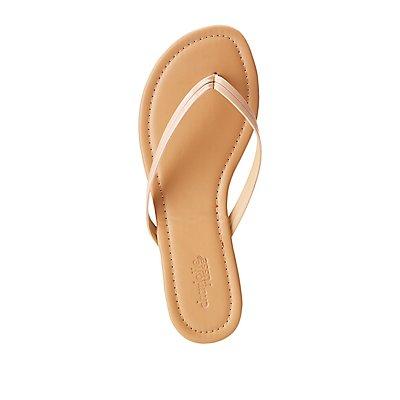 Faux Leather Flip Flop Thong Sandals