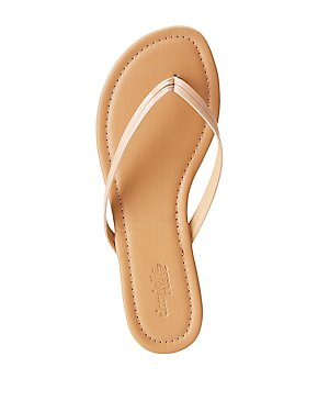 447e431b110 Faux Leather Flip Flop Thong Sandals