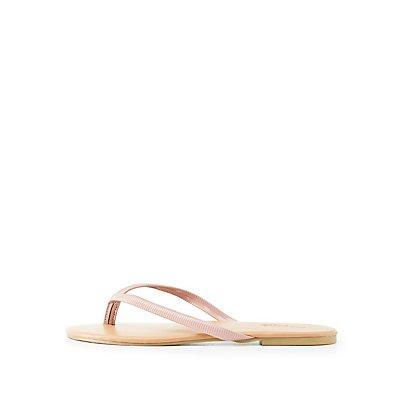 Coiled Faux Leather Flip Flop Sandals