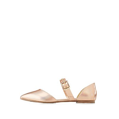 Holographic Grommet-Detail Pointed Toe Flats