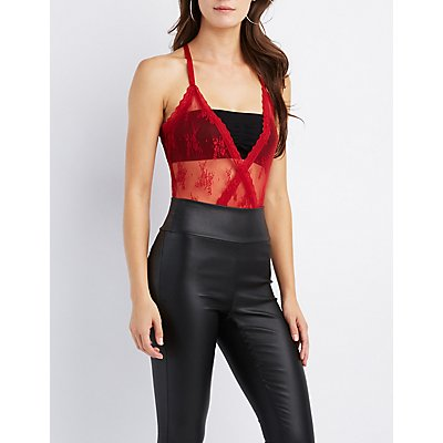 Lace-Trim Mesh Surplice Bodysuit