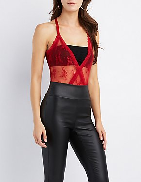 Lace-Trim Mesh Surplice Bodysuit