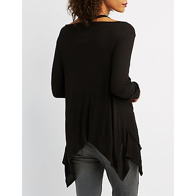 Shark Bite Hem Cut-Out Top