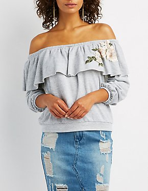 Embroidered Off-The-Shoulder Pullover Sweater