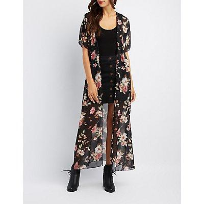 Floral Tie-Front Duster Kimono