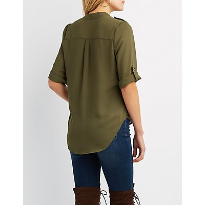 V-Neck Button-Up Tunic