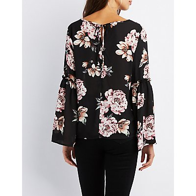 Floral Ruffle-Trim Bell Sleeve Top