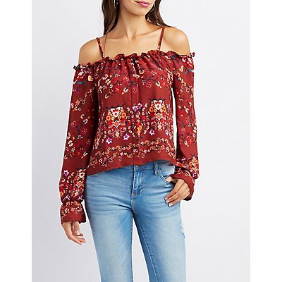 Floral Cold Shoulder Button-Up Top