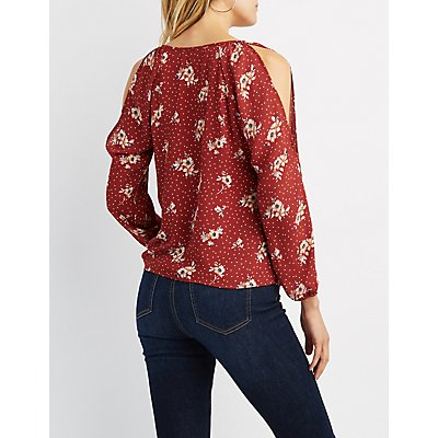 Floral Chiffon Cut-Out Top