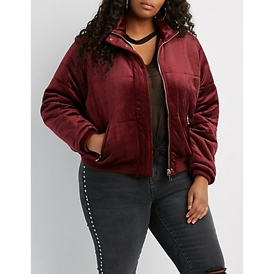 Plus Size Velvet Quilted Puffer Jacket