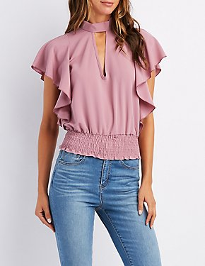 Ruffle-Trim Cut-Out Top
