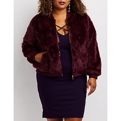 Plus Size Faux Fur Bomber Jacket