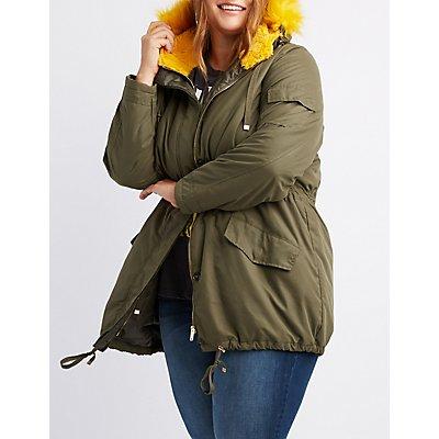Plus Size Fur-Trim Anorak Jacket