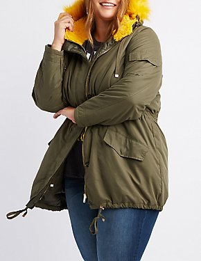 Plus Size Fur-Trim Anorak Jacket