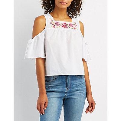 Embroidered Floral Cold Shoulder Top