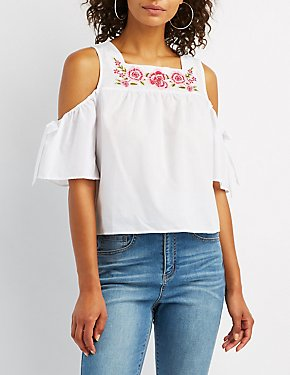 Embroidered Floral Cold Shoulder Top