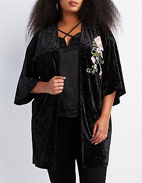 Plus Size Floral Embroidered Velvet Kimono Duster