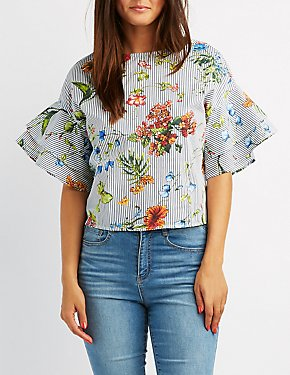 Floral And Stripe Tiered Sleeve Top