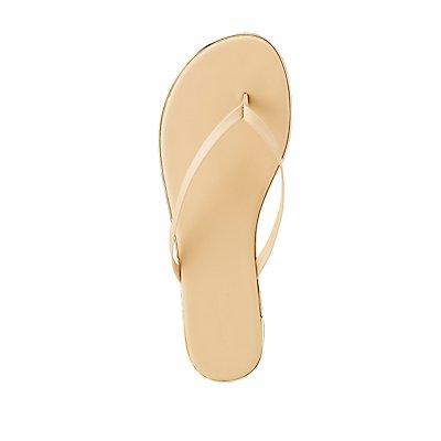 Metallic-Trim Flip Flop Sandals