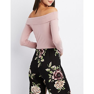 Off-The-Shoulder Knotted Crop Top