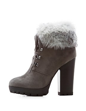 Faux Fur-Trim Lace-Up Booties
