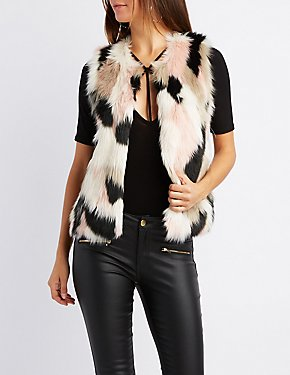Multicolor Faux Fur Sweater Vest