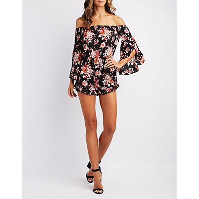 Floral Ruffle-Trim Off-The-Shoulder Romper