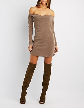 Wrapped Off-The-Shoulder Shift Dress