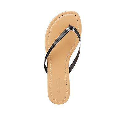 Patent Flip Flop Sandals