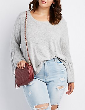 Plus Size Scoop Neck Bell Sleeve Sweater