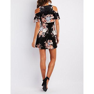 Floral Velvet Cold Shoulder Skater Dress