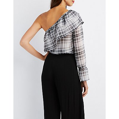 Gingham Ruffle-Trim One-Shoulder Top