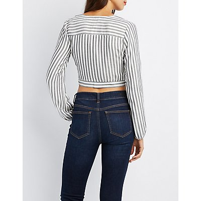 Striped Button-Down Tie-Front Crop Top