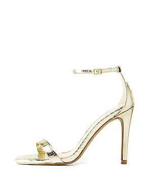 Embossed Metallic Two-Piece Dress Sandals