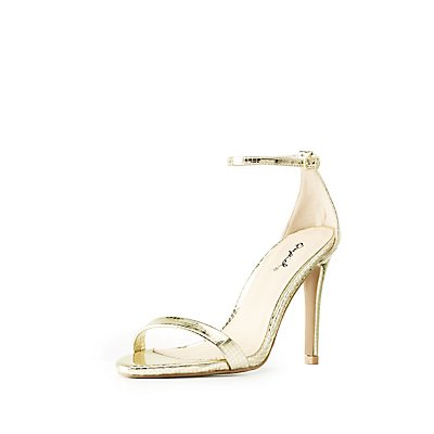 Embossed Metallic Ankle Strap Dress Sandals