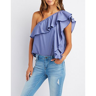 Pinstripe One-Shoulder Ruffle Top