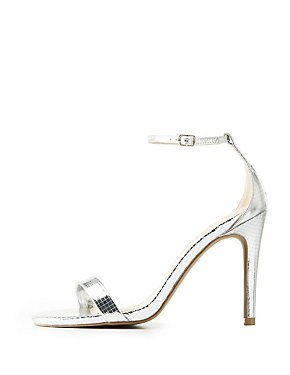 Qupid Embossed Metallic Two-Piece Dress Sandals
