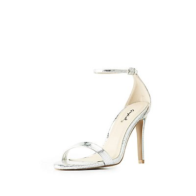 Qupid Embossed Metallic Ankle Strap Dress Sandals