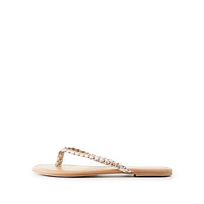 Metallic Braided Flip Flop Sandals