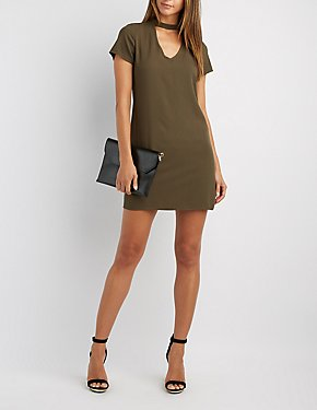 Choker Neck Shift Dress