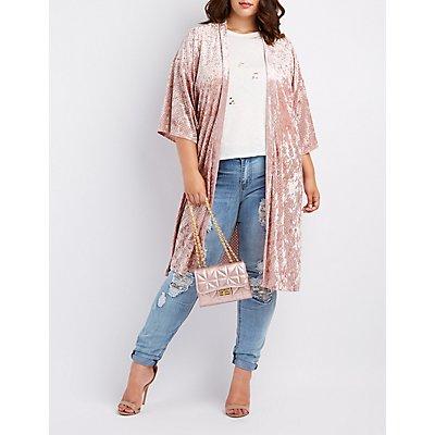 Plus Size Perforated Velvet Kimono