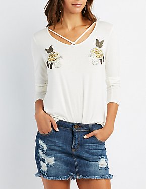 Floral Patch Lattice-Front Top