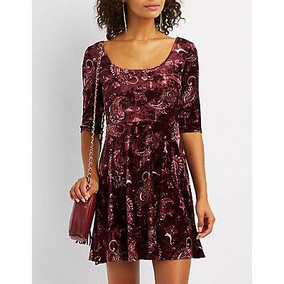 Printed Velvet Skater Dress