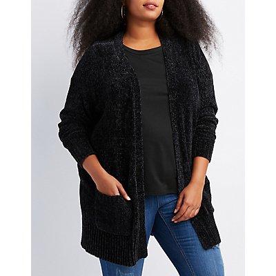 Plus Size Chenille Open-Front Cardigan