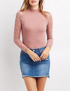 Lace-Trim Mock Neck Top