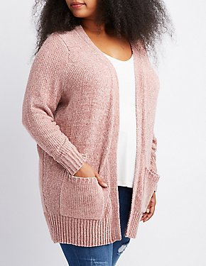 Plus Size Chenille Open-Front Cardigan