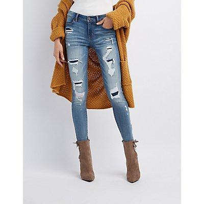 Refuge Destroyed Patchwork Skinny Jeans