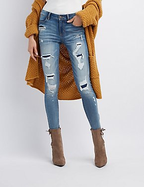 Refuge Destroyed Patchwork Skinny Jeans