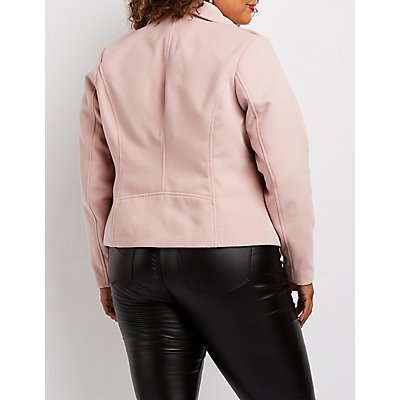 Plus Size Woven Moto Jacket