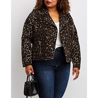 Plus Size Leopard Print Moto Jacket